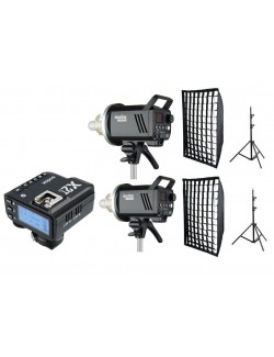 Kit 2 Godox MS300 flashes de estudio con trigger Nikon con softbox